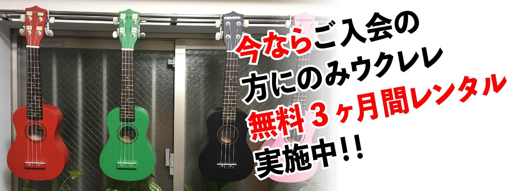 無料!!ウクレレ3ヶ月レンタル(feelウクレレ教室 西東京市田無校)